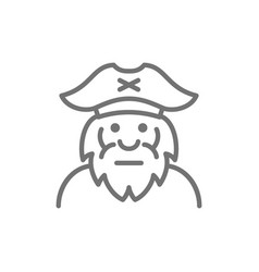 captain sailor pirate old man line icon vector image