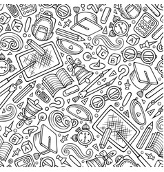 Cartoon hand-drawn back to school seamless pattern vector