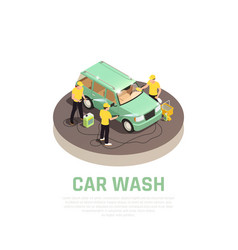 Carwash isometric concept vector