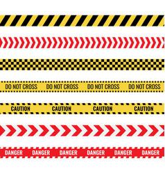 caution tape sign set danger police lines vector image