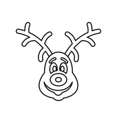 Christmas deer icon outline style vector image