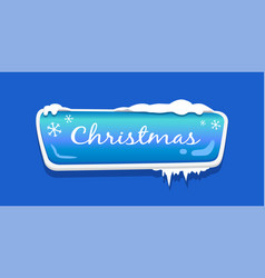 Christmas web push button icon covered snow vector