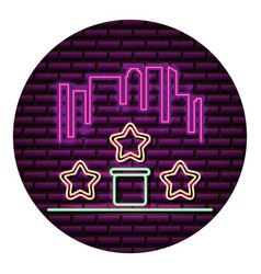 city star level neon video game wall vector image