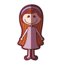 Color silhouette shading cartoon long hair girl vector