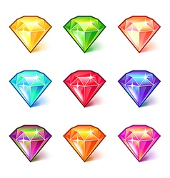 Colorful cartoon diamonds icons set vector