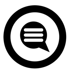 Comments icon black color in circle vector