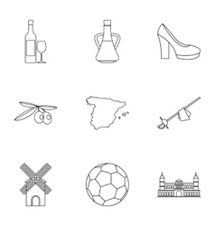 Country Spain icons set outline style vector