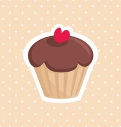 Cute cupcake with red heart and white polka dots vector