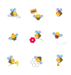 cute honey bee set lovely flying insects vector image