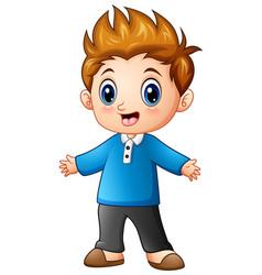 Cute little boy cartoon vector