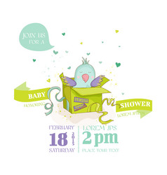 Cute parrot in a gift box baby shower card vector