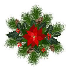 Decorations with poinsettia vector