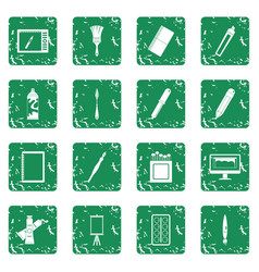 Design and drawing tools icons set grunge vector