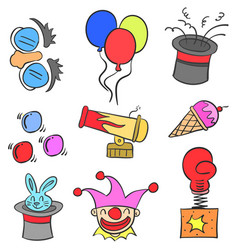 element circus colorful doodles vector image