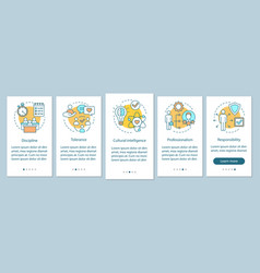 Employee soft skills onboarding mobile app page vector