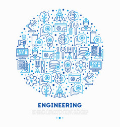 Engineering concept in circle with thin line icons vector