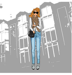 Fashionable cute girl in a jacket blue jeans vector