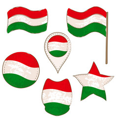 flag of hungary performed in defferent shapes vector image
