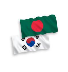Flags south korea and bangladesh on a white vector