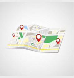 folded map with point markers vector image