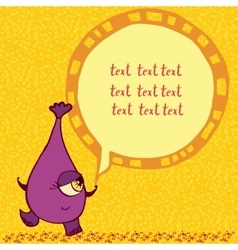 Funny purple monster with an inscription vector