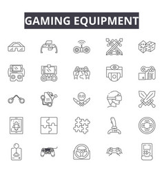 gaming equipment line icons signs set vector image