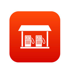 Gas station icon digital red vector
