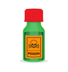 glass green bottle with toxic chemical solution vector image