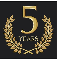 Golden laurel wreath 5 year vector image