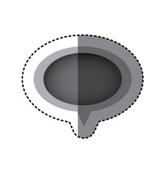 grayscale sticker of oval speech with tail vector image