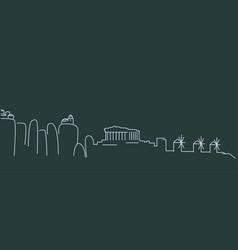 greece simple line skyline and landmark vector image