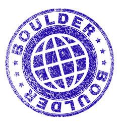 Grunge textured boulder stamp seal vector