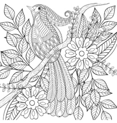 hand drawn entangle exotic tropical bird sitting vector image