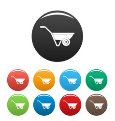 hand truck one wheel icons set color vector image