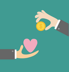 hands with heart and money gold dollar coin vector image
