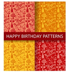happy birthday seamless patterns vector image