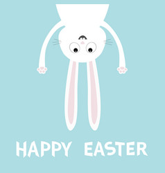Happy easter white bunny rabbit funny head face vector