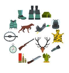 Hunting flat icons vector