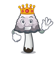 King shaggy mane mushroom mascot cartoon vector