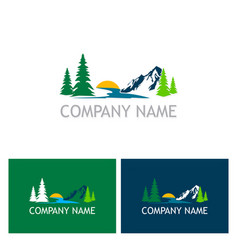 Lake mountain nature logo vector