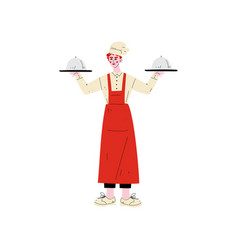 male chef holding platter cloches hotel staff vector image