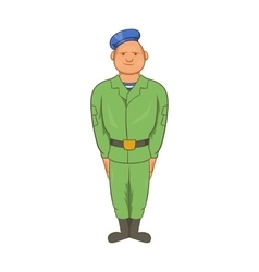 Man in green army uniform and blue beret icon vector image