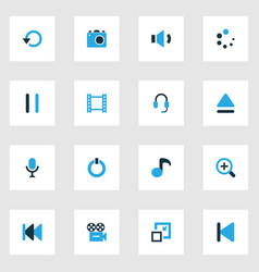 media colorful icons set collection of repeat vector image