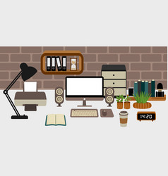 men workspace for doing business vector image
