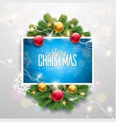 merry christmas on shiny red vector image