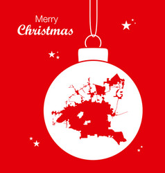 Merry christmas theme with map of houston city vector