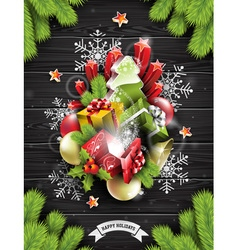 Merry Christmas with holiday elements vector image