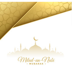 Milad un nabi lovely white and gold card design vector