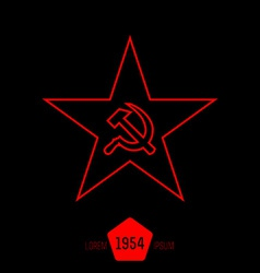 minimal red star with socialist symbols made of vector image