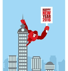 monkey on skyscraper king kong holds a sign vector image